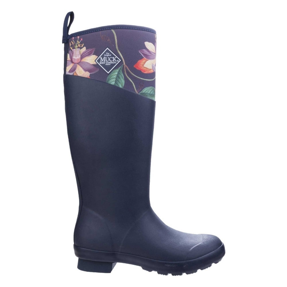 Muck Boots Navy//Grey Roses Tremont RHS Print Waterproof Wellington Boots
