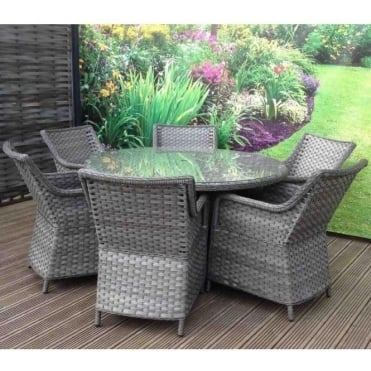 Victoria Rattan Round Dining Set - 4, 6, or 8 Seater