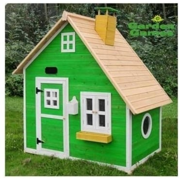 Whacky Mansion Playhouse Finished in Yellow and Green