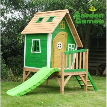 Whacky Tower Playhouse Finished in Yellow and Green