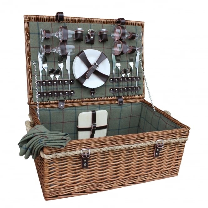 4 Person Deluxe Rope Handled Green Tweed Hamper