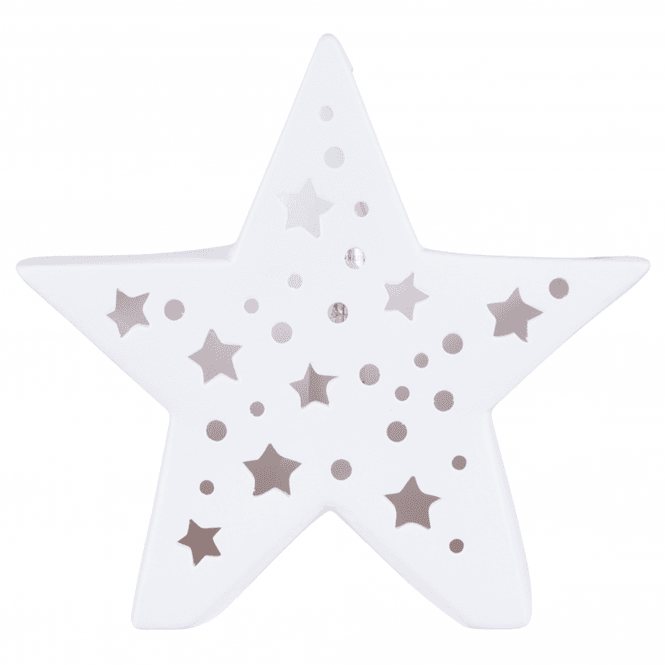 Click to view product details and reviews for White Ceramic Star Cut Out Uplighter Table Lamp.