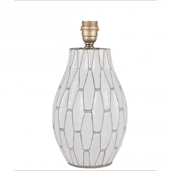 Click to view product details and reviews for White Geometric Table Lamp With Grey Detail.