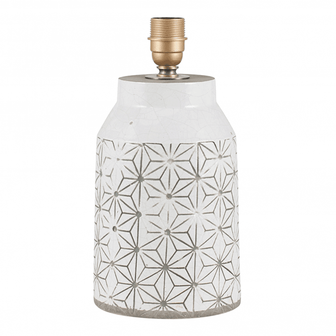 Click to view product details and reviews for White Stoneware And Etch Detail Table Lamp.