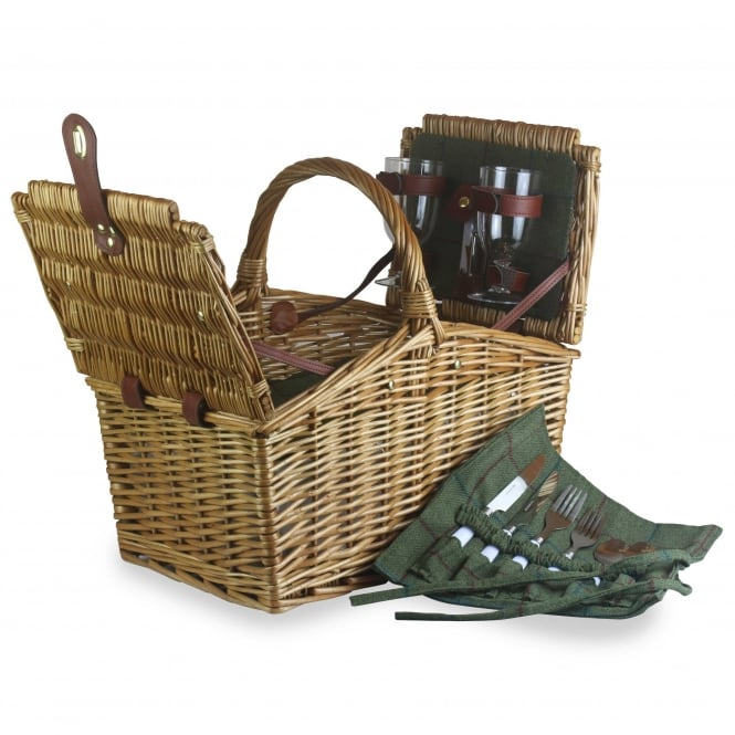 Willow Direct Baskets 2 Person Green Tweed Double Lidded Hamper