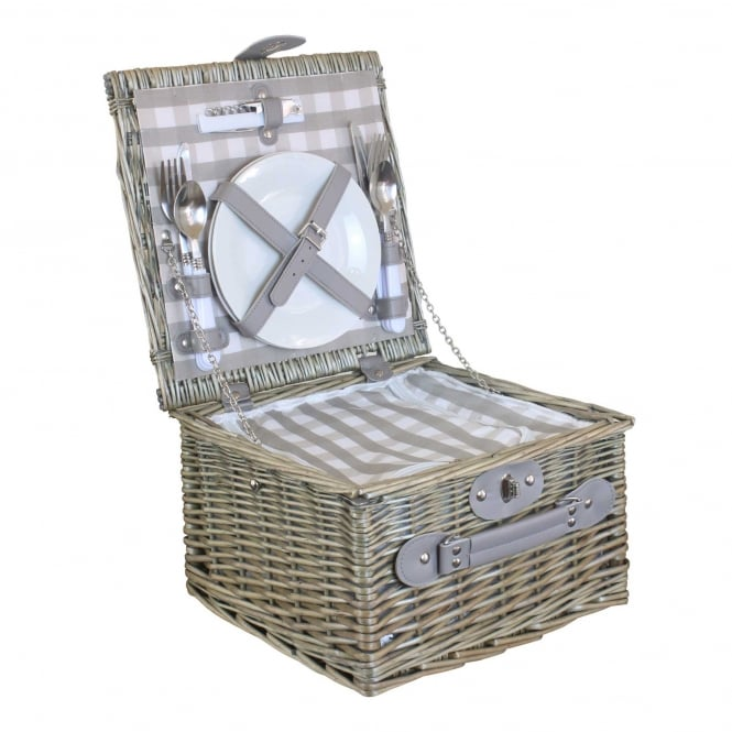 Willow Direct Baskets 2 Person Grey Checked Chiller Hamper