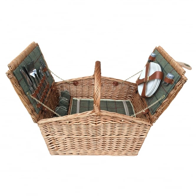 Click to view product details and reviews for Willow Direct Baskets 4 Person Green Tweed Double Lid Hamper.