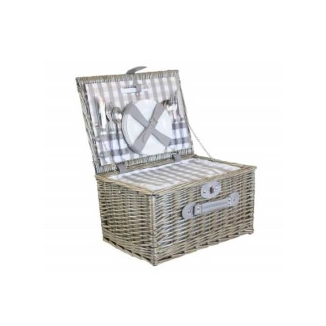 Willow Direct Baskets 4 Person Grey Checked Chiller Hamper