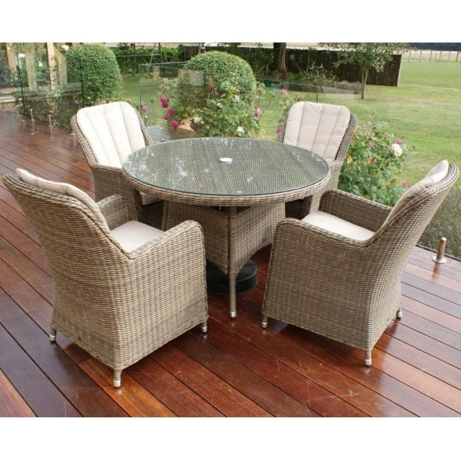 Winchester 4 Seat Round Dining Set with Venice Chairs  sc 1 st  Garden Chic & Maze Rattan Winchester Venice 4 Seat Round Dining Set