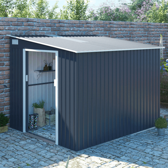Click to view product details and reviews for Windsor 1 Grey Metal Shed 7 X 8.