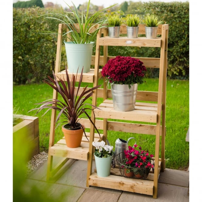 Wooden Plant Ladder Display